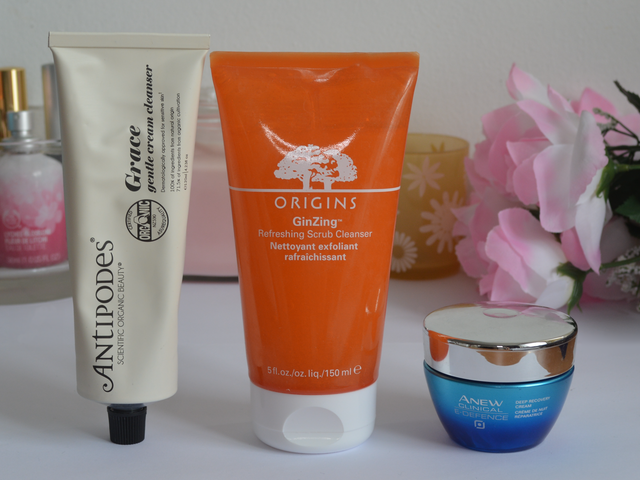 Antipodes grace gentle cream cleanser, Origins ginzing refreshing scrub cleanser, Avonn anew clinical e-defence deep recovery cream