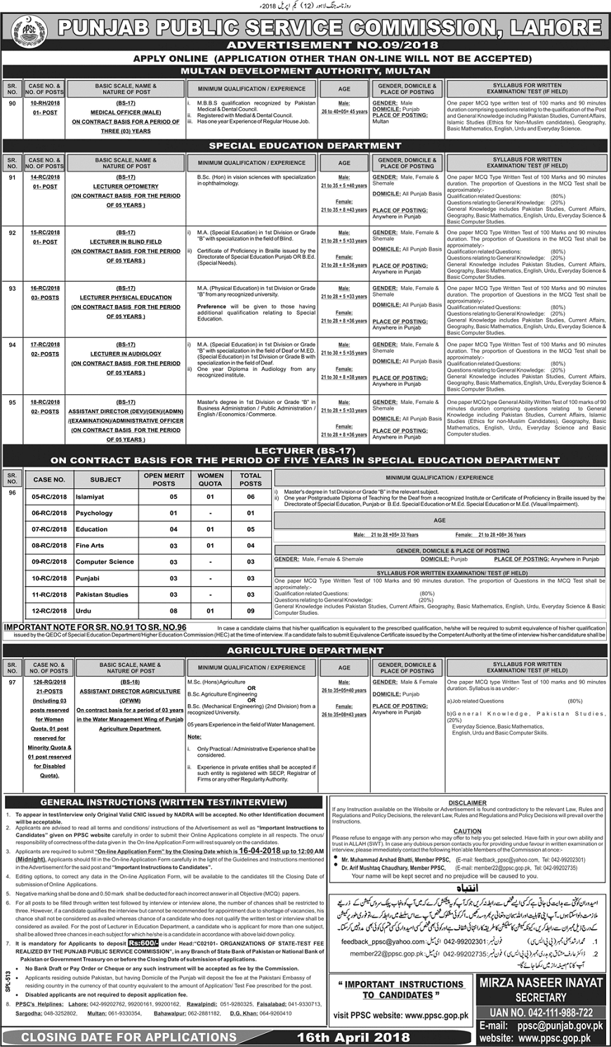 Jobs for Doctors, Jobs for Agriculture Officers, Engineering Jobs 2018, Jobs in Punjab, Jobs in Education Department, Jobs for Lecturers, Jobs for Teachers in Punjab