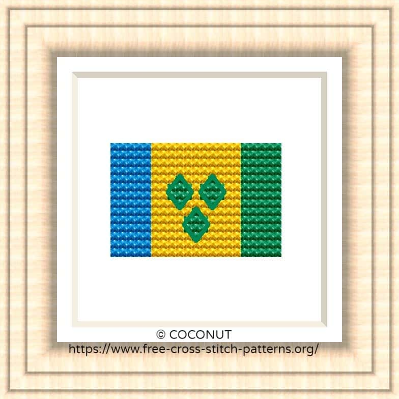 NATIONAL FLAG OF SAINT VINCENT AND THE GRENADINES CROSS STITCH CHART