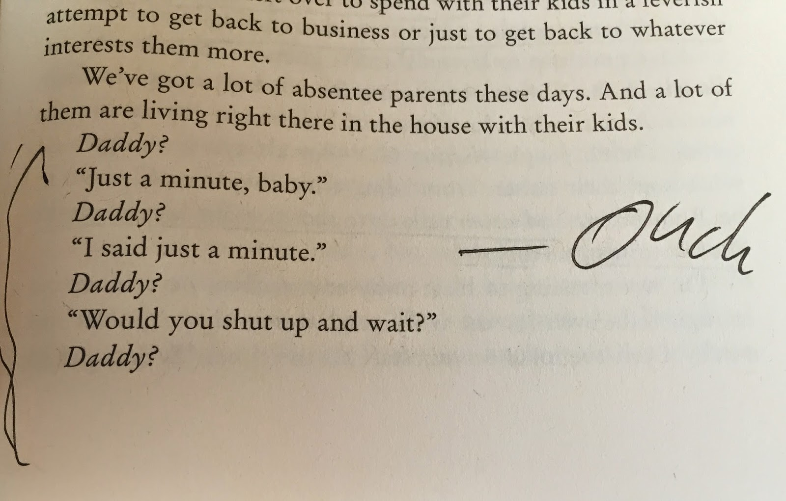 "image from the book ""who you are"" of a dad's conversation with child and word ""Ouch""  hand written in margin"