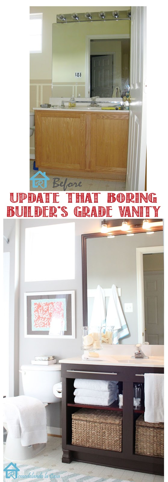 before and after of builder's grade vanity makeover