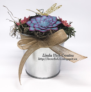 Linda Vich Creates: So Succulent Gift Set With Video Tutorial. Pot of trendy, colorful succulents created using the Succulent Framelits.