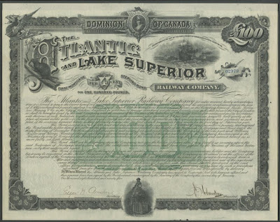 This Atlantic and Lake Superior Railway Company bond includes a beaver vignette