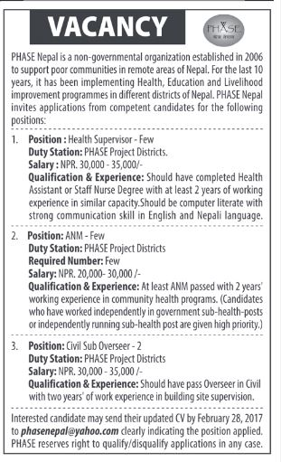 Health Superviser , ANM vacancy at PHASE Nepal