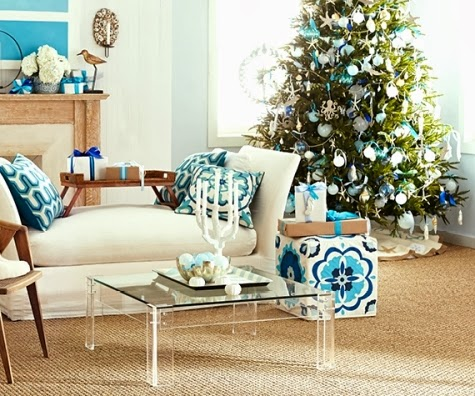 Wisteria coastal Christmas living room