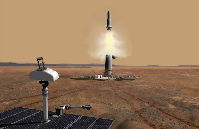 Image Attribute: Mars Ascent Vehicle (MAV), Artistic Renderation/ Source: JPL-NASA