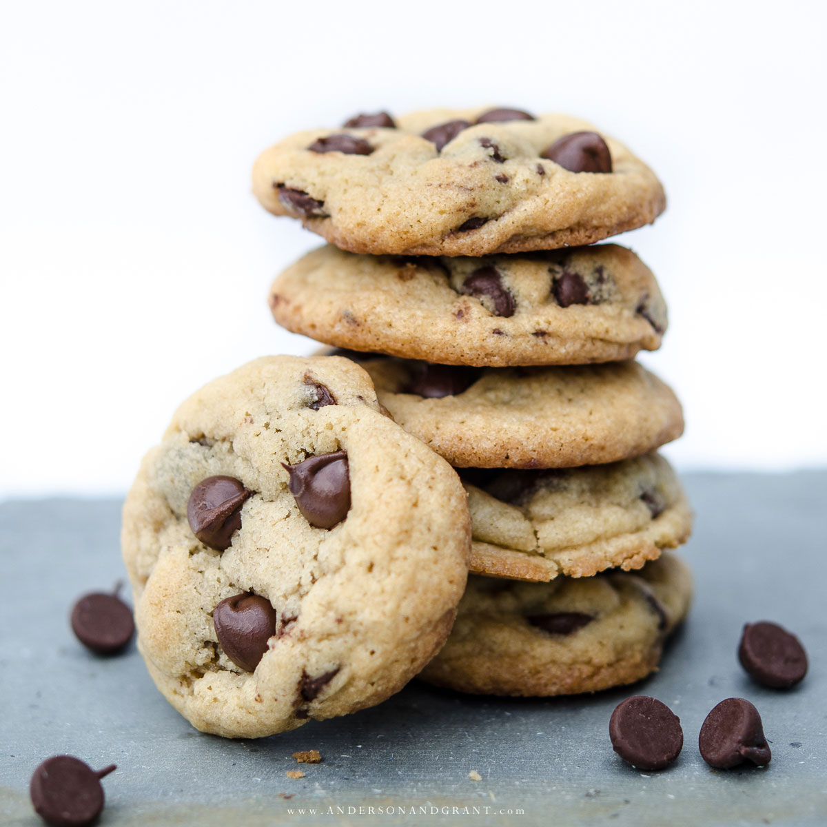 Get a recipe for the most flavorful chocolate chip cookies with a special ingredient + tips for getting perfect cookies every time. #recipe #cookies #chocolatechipcookies | www.andersonandgrant.com
