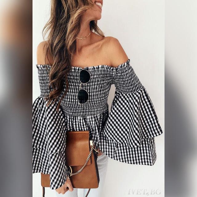 Strapless άσπρο-μαύρη γυναικεία μπλούζα DABIA