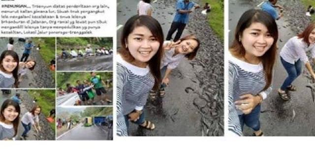 Foto Selfie dengan Background Lele Berhamburan di Jalan, Cewek ini Jadi Viral di Media Sosial