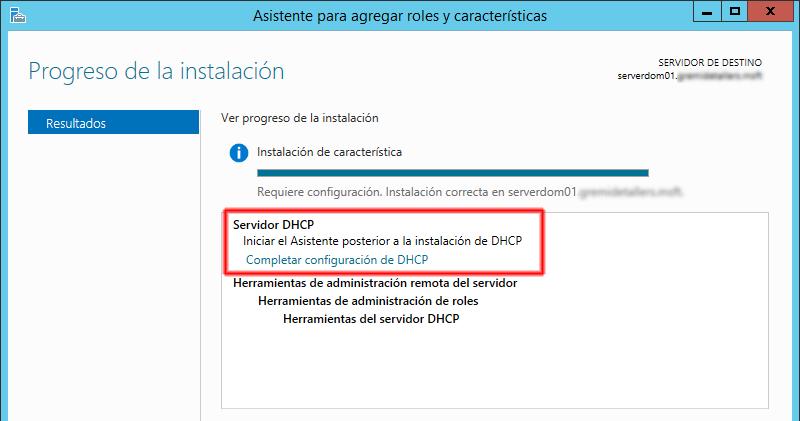 Configuración del rol de DHCP