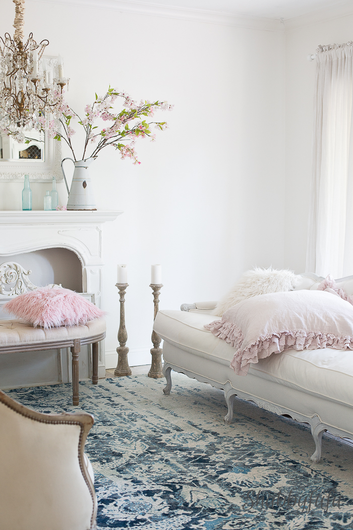 clean white french living room