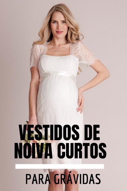 Vestidos de noiva curtos para grávidas