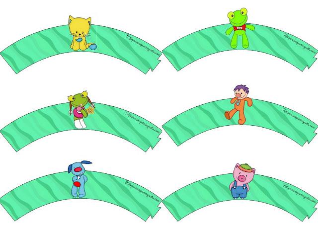 Personajes de Sapo Pepe: Wrappers para Cupcakes para Imprimir Gratis