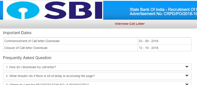 SBI PO Interview 2018 Admit Card Released - Download Now