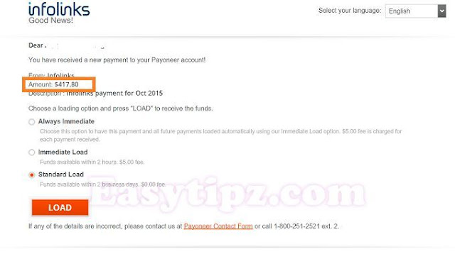 My first payment from Infolinks with a small website