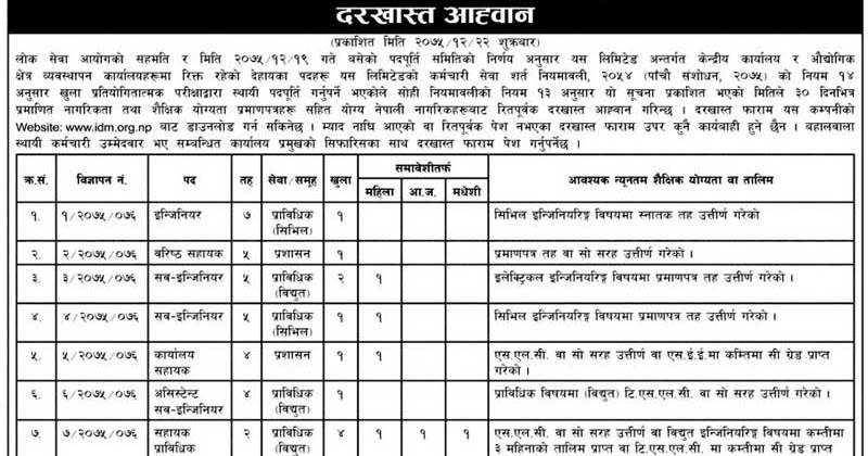 Jobs at Industrial District Management Limited, Balaju