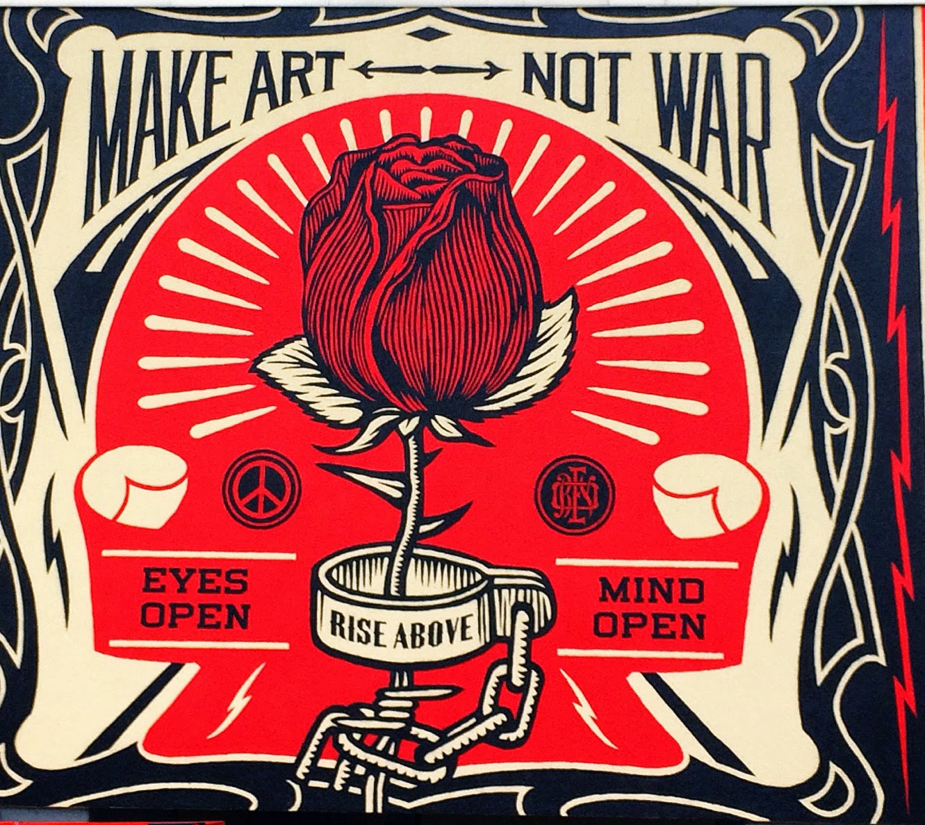 Giant Wall Mural Stickers Shepard Fairey Unveils Quot Make Art Not War Quot For Urban Nation