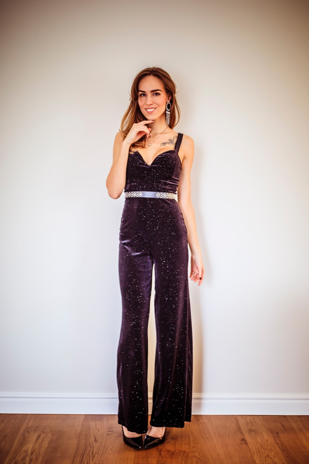black embellished jumpsuit holiday party style