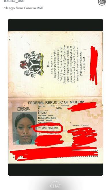 Gist Edge News | Ese Eriata\'s Birth Certificate & Passport Data ...
