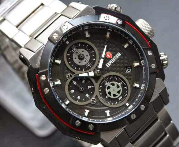 Jam Expedition E 6385M Silver Black Red Dial