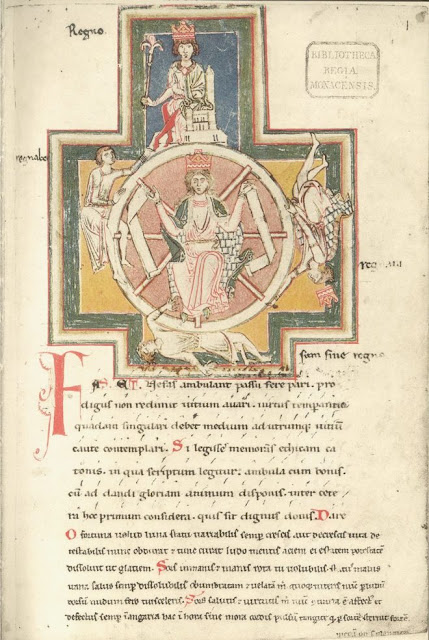 Wheel of Fortune illustration from the famous Carmina Burana, circa 1220s. Photo credit: image in the public domain via Wikipedia.