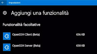 Installare il Client OpenSSH in Windows 10