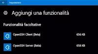 Installare il Client OpenSSH in Windows 10