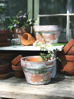 EASY DIY to Age New Clay Pots.  Step by Step instructions to aging your pots.