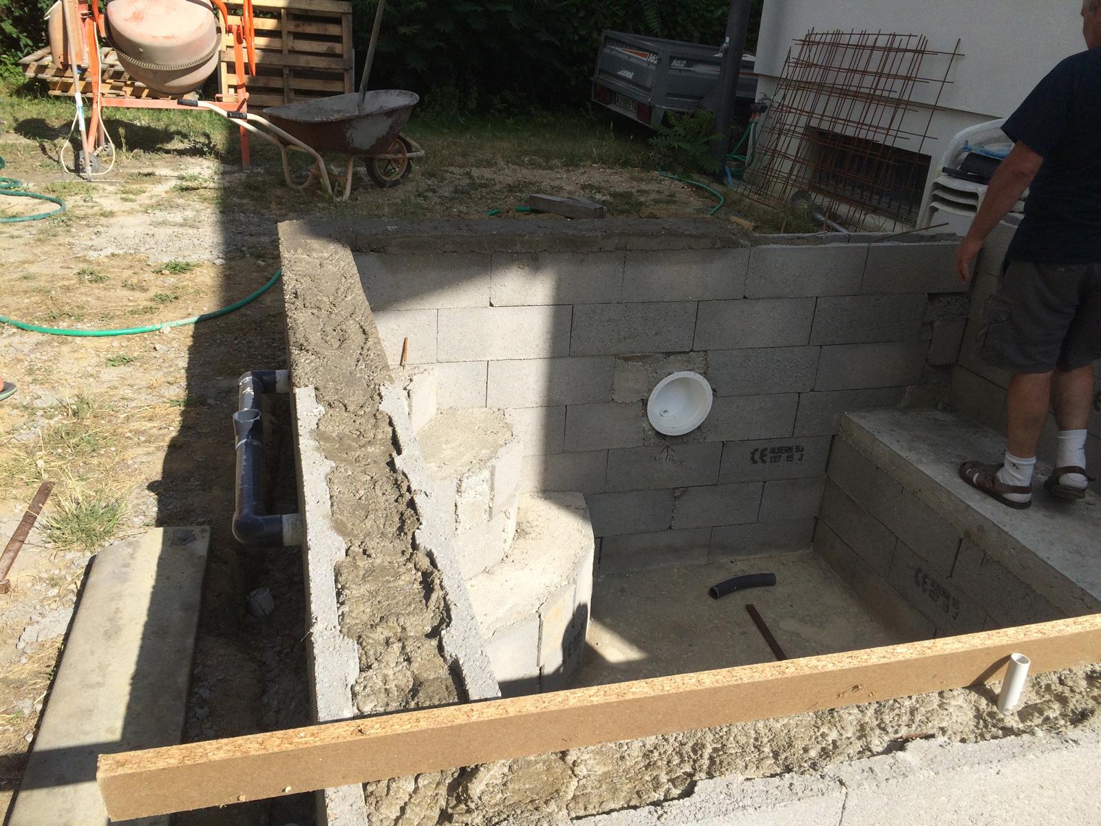 coffrage des murs et enduit des parois verticales construction d 39 une petite piscine en b ton. Black Bedroom Furniture Sets. Home Design Ideas