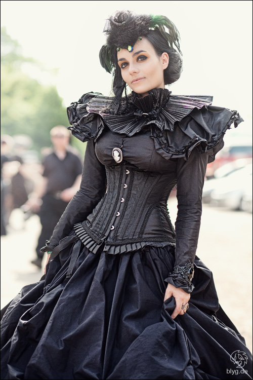 Women's Steamgoth gothic steampunk costume. All black skirt, blouse, corset and hat.