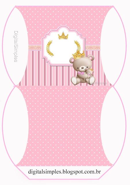 Cajas Almohada de Princesa Osita de Peluche  para imprimir gratis.