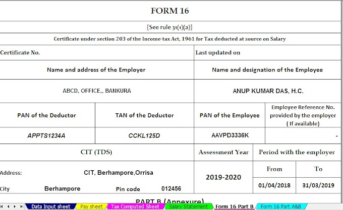 Free Download Automated Income Tax Form 16 Part B for the Financial Year 2018-19