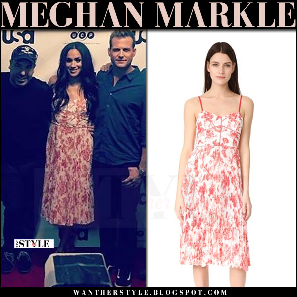 Meghan Markle in white and red floral print midi dress club monaco sinthea what she wore june 11 2017