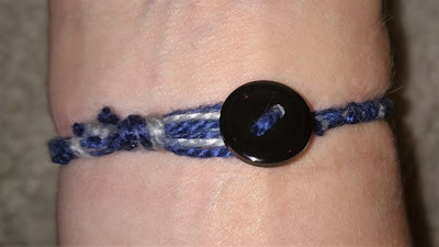 Button clasp on a simple DIY bracelet