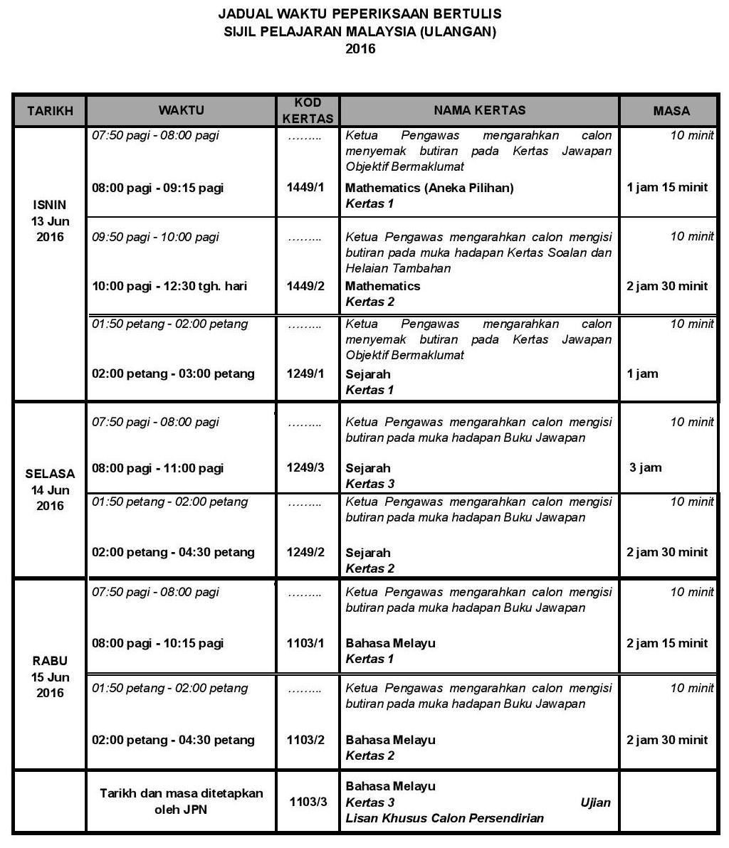 Jadual waktu Peperiksaan SPMU 2016