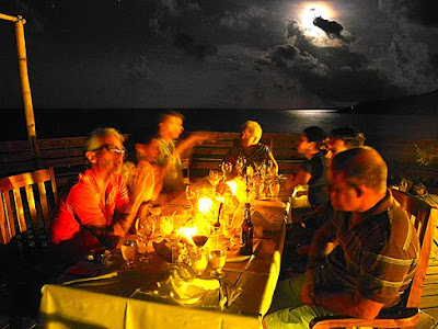 food service, full moon, good energy, happiness, main deck, paya bay resort, friends, family,