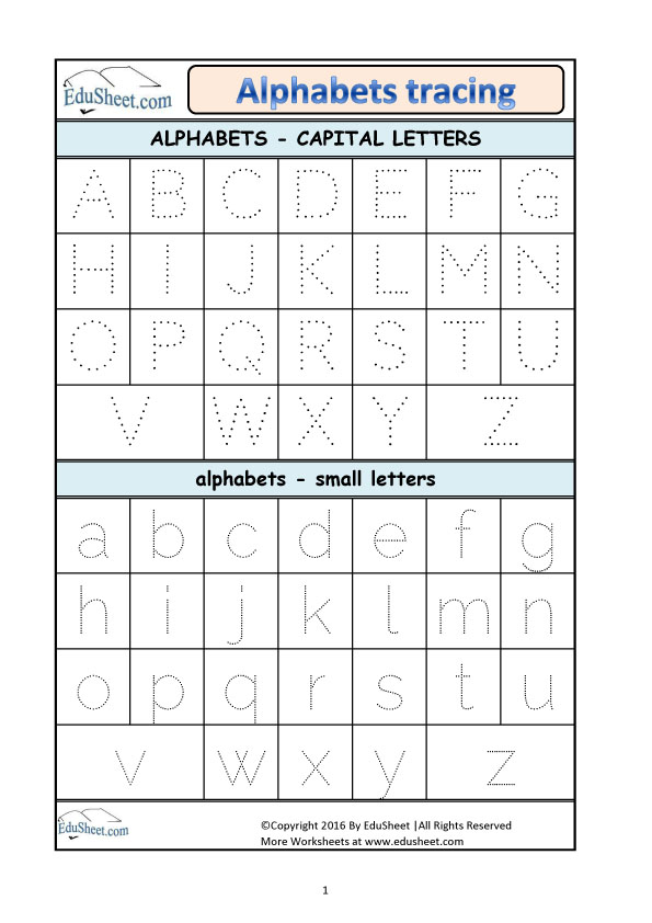 Alphabet Tracing Worksheets Az Pdf Best Free Fillable Forms Free