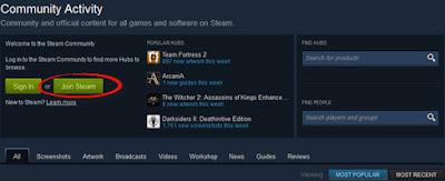 Registrasi di Steam Community
