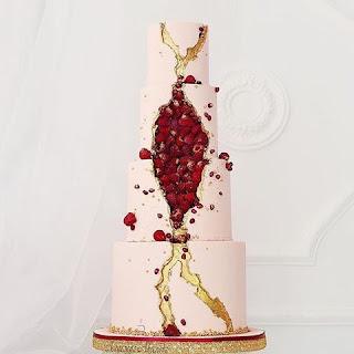 K'Mich Weddings - wedding planning - wedding cake - three tier raspberry filled geode cake