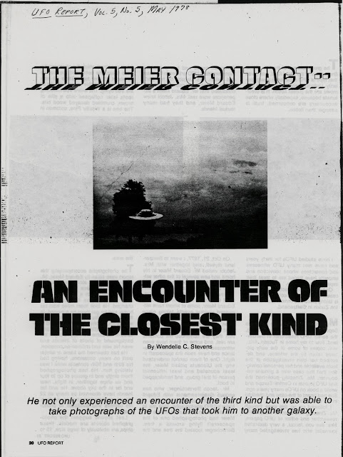 UFO Report (Vol.5, No.5, May 1978): 'The Meier Contact - An Encounter of the Closest Kind' by Wendelle C. Stevens