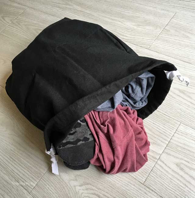 Make a drawstring bag to carry dirty clothes home from the gym ~ Threading My Way