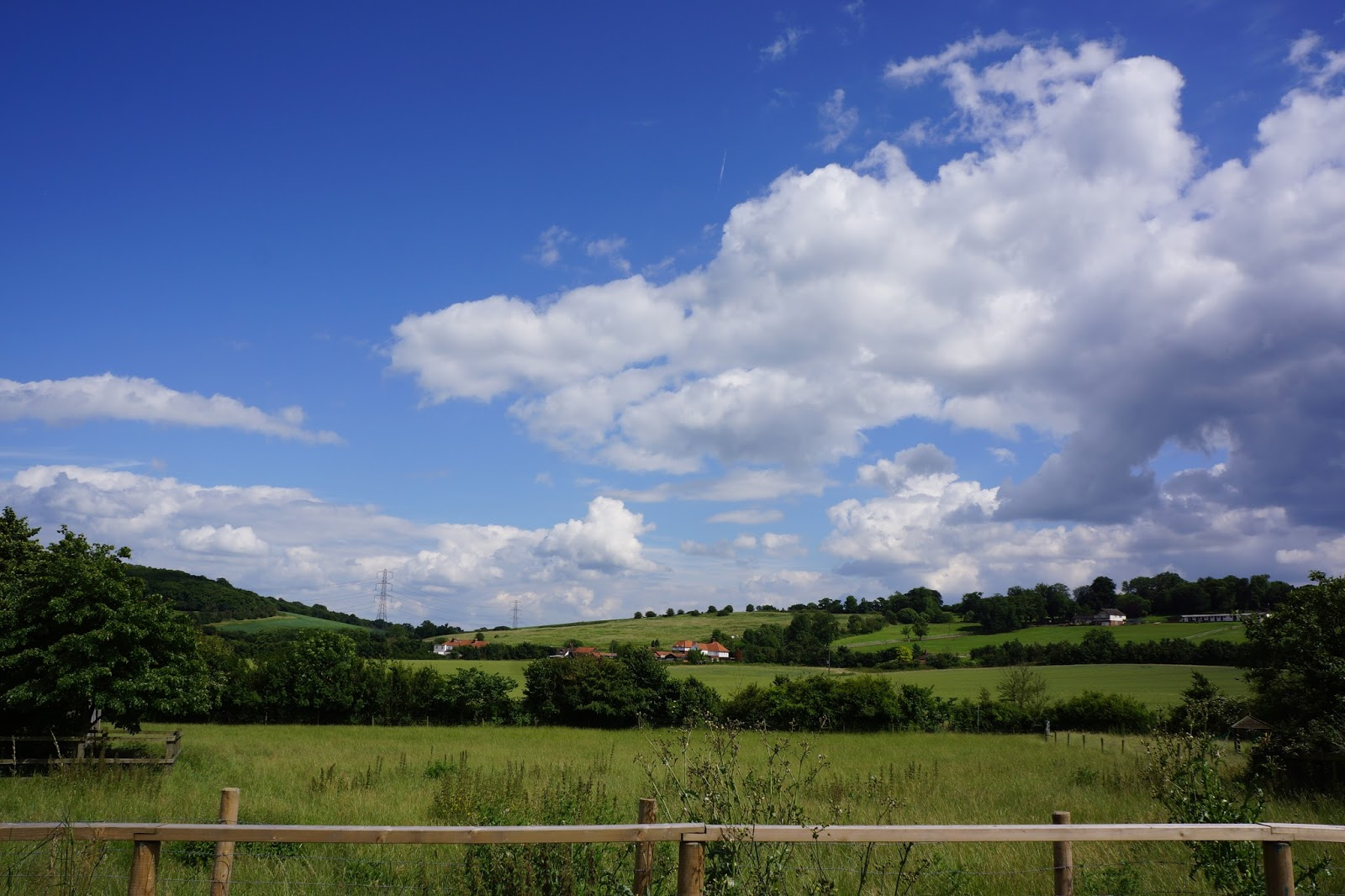green rolling hills and blue skies at lee valley park farm