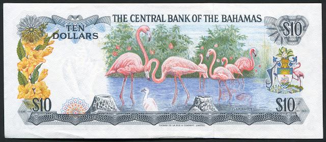 Bahamas money currency Bahamian Dollars bank note flamingos