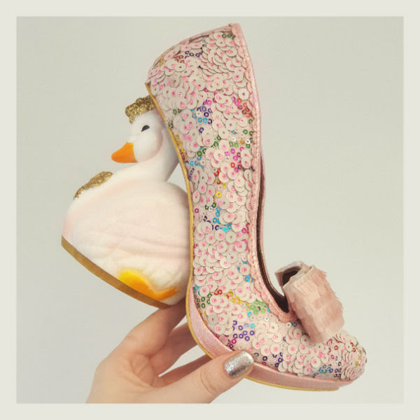 irregular choice pink savan swan character heel shoe