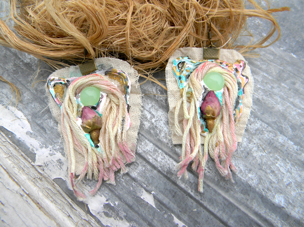 Unique Handcrafted Jewelry Fashion Organic Earrings Rustic Original Handmade