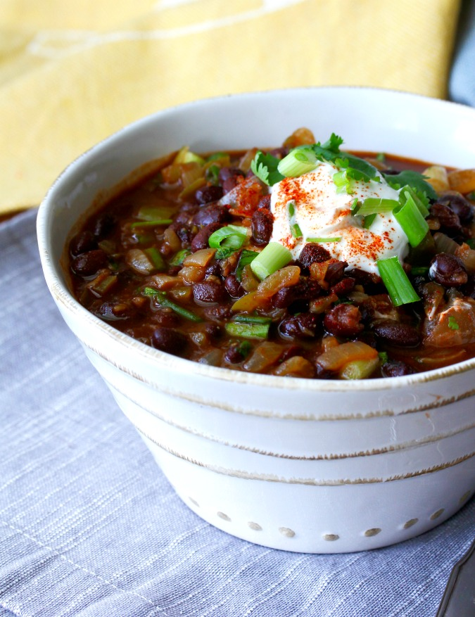 This Smoky Black Bean Soup is perfect for a busy weeknight meal. Pair it with a salad, and you have dinner for two.