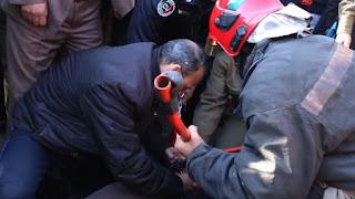 بالفيديو  محاولة انتحار سائق طاكسي