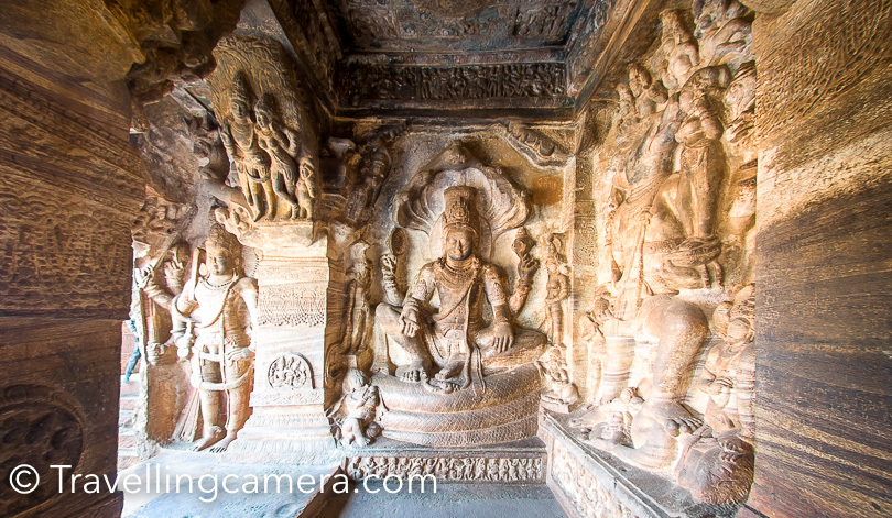 In above photograph, Vishu is sitting on Adisheesha. This is clicked at Cave temples of Badami.  Bhanshankari Temple is also located in Bagalkot district of Karnataka. This is considered as one of the important shrines in Karnataka state of India.