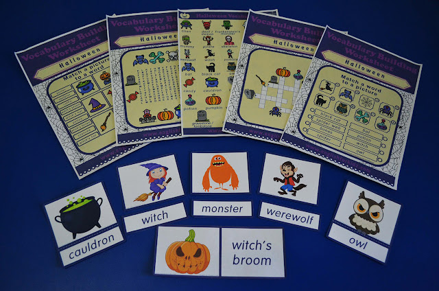 Printable Halloween worksheets, flashcards and games for English lerners