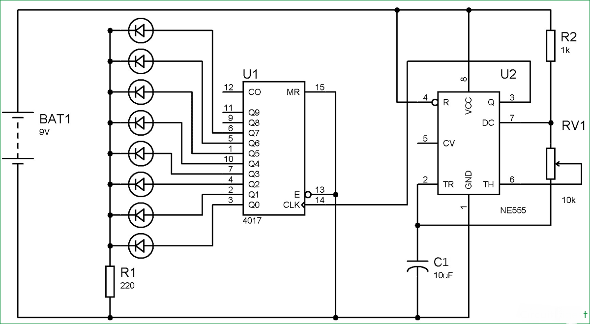 Best Roulette Led Circuit Using 555 Timer Ic Blinker The Astable As Same Here We Are Making A Wheel Or Circle Shaped Placed In Mode And 4017 Which Is Decade Counter